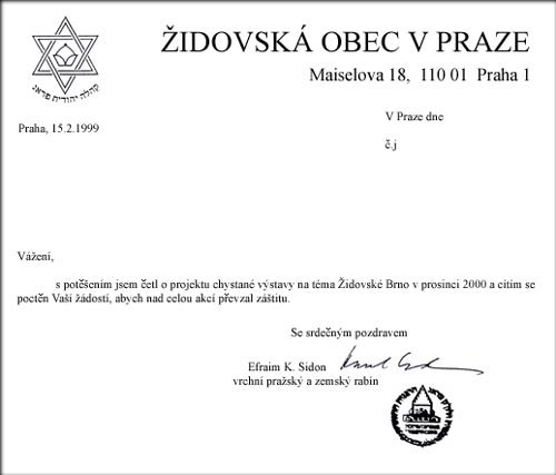 Letter of Rabbi of Prague and Chief Rabbi of the Czech Republic